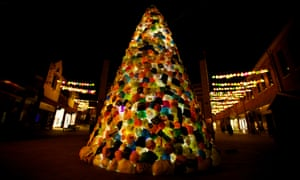 A Christmas tree made of thousands of discarded plastic bags in Durham city centre.