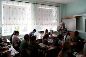 Class in session at School #7, Dmitrov, Russia.A class is in session at School #7, 05 Apr 2016, Dmitrov, Russia. School #7 is a public school but offers cadet classes for those who wish to participate. The benefit of participating in cadet classes includes free lunch, while other students have to pay.