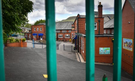 An empty playground at Milton St. John's Primary School in Mossley, Greater Manchester.