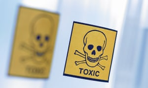 Bottles with warning labels for toxic substances