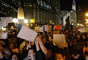 Protests against the president-elect in Chicago, Illinois.