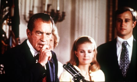 President Nixon makes his resignation speech alongside his family in 1974 … Spark's Watergate satire, The Abbess of Crewe, was published in the same year.