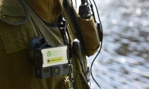 Environment Agency staff member wearing a camera.