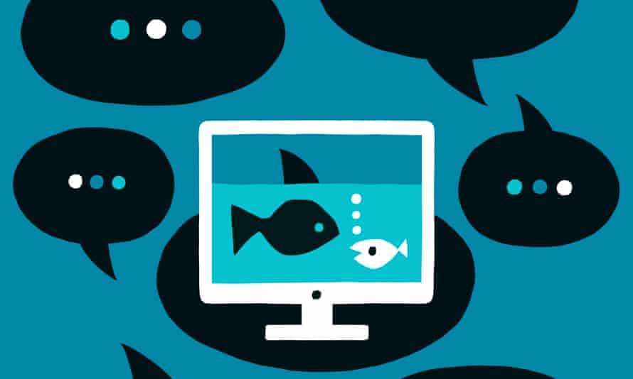Illustration of two fish on a PC screen surrounded by speech bubbles