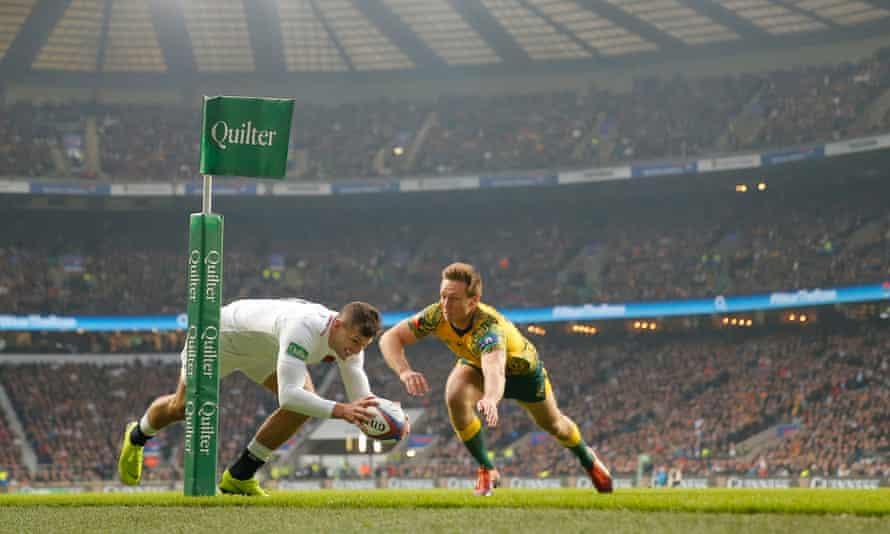 Jonny May scores for England against Australia in their 2018 autumn international at Twickenham