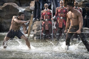 Chadwick Boseman and Michael B. Jordan in Black Panther.