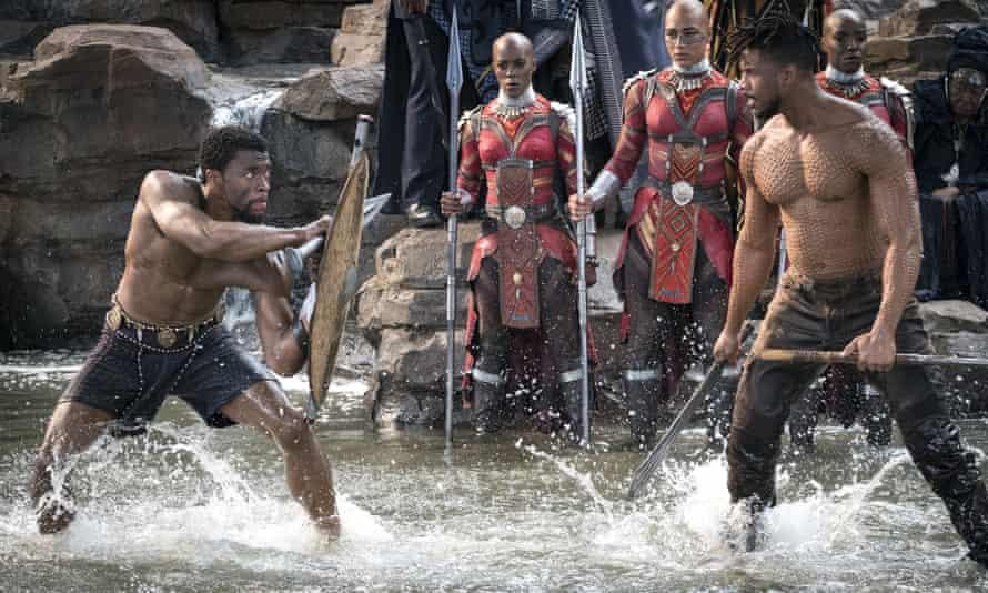 Chadwick Boseman and Michael B Jordan in the film Black Panther.