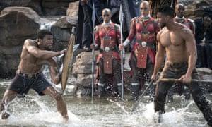 Chadwick Boseman and Michael B Jordan in Black Panther