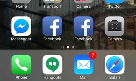 facebook app and mobile site icons on an iphone 6s plus