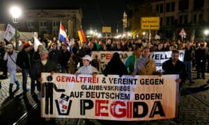 The Pegida march through Dresden on Monday.