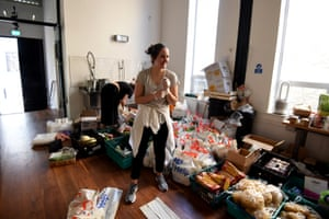 London, UK: volunteers from the Islington Covid-19 Mutual Aid Group prepare food parcels for a weekly distribution to members of their community who are in self-isolation and experiencing financial difficulties