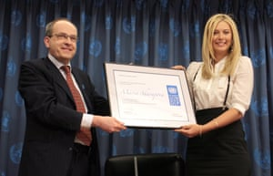 In February 2007 was appointed UNDP Goodwill Ambassador at the United Nations and she also used the occasion to donate $100,000 to eight Chernobyl recovery projects in Belarus, the Russian Federation and Ukraine