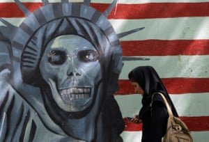 Anti-US graffiti on the wall of the former US embassy in Tehran