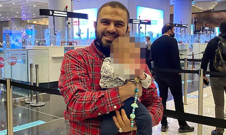 Dual Australian Saudi Arabian citizen Osama al-Hasani with his baby daughter