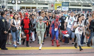 Fans leave the convention center