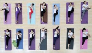 Tengzhou, China Yoga fans practise in Shandong province