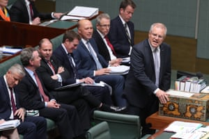 The Prime minister Scott Morrison and a section of his frontbench