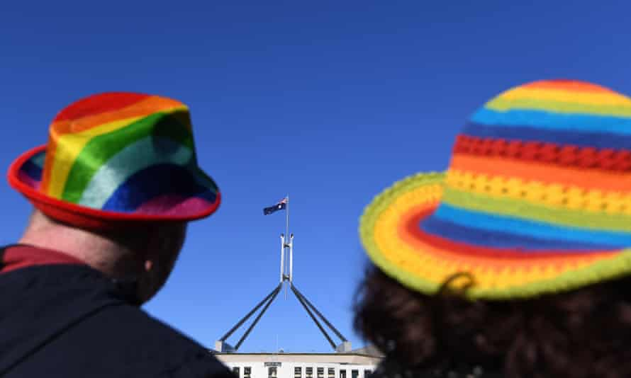 Marriage equality advocates outside Parliament House