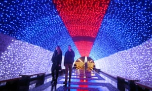 A festive light tunnel in the colours of the Serbian flag in Belgrade.