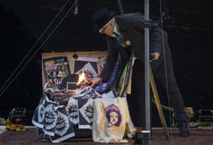 Joe Corré sets fire to his punk collection.