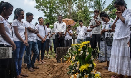 A funeral for a victim of the Easter Sunday attack on St Sebastian's Church in Negombo, near Colombo, Sri Lanka.