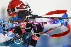 Marketa Davidova, of the Czech Republic, practises shooting with her rifle before the women's 10km biathlon pursuit