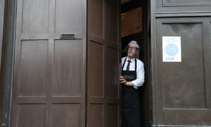 Keith McKenzie closes the door of the Grill in Aberdeen at 5pm