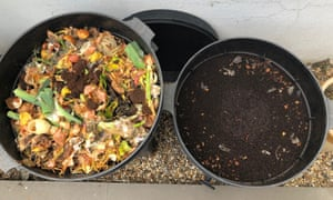Saskia Restorick's wormery: fresh food waste in one tray and the compost nearly ready to be used in the other.