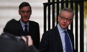 Michael Gove (right) and Jacob Rees-Mogg in Downing Street for the weekly cabinet meeting.
