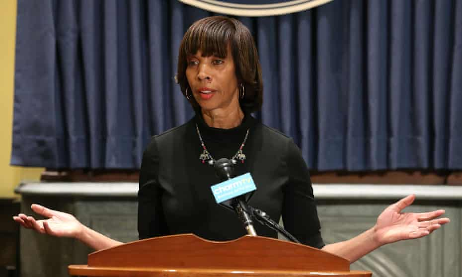 Baltimore Mayor Catherine Pugh talks about the late night removal of four confederate statues in the city, on August 16, 2017 in Baltimore, Maryland.