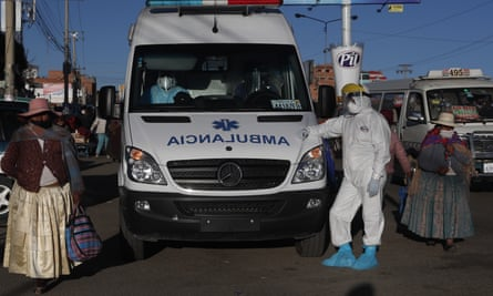 An ambulance at a hospital in El Alto, Bolivia. An ambulance medic was among three health workers to be infected by a patient in neighbouring La Paz.