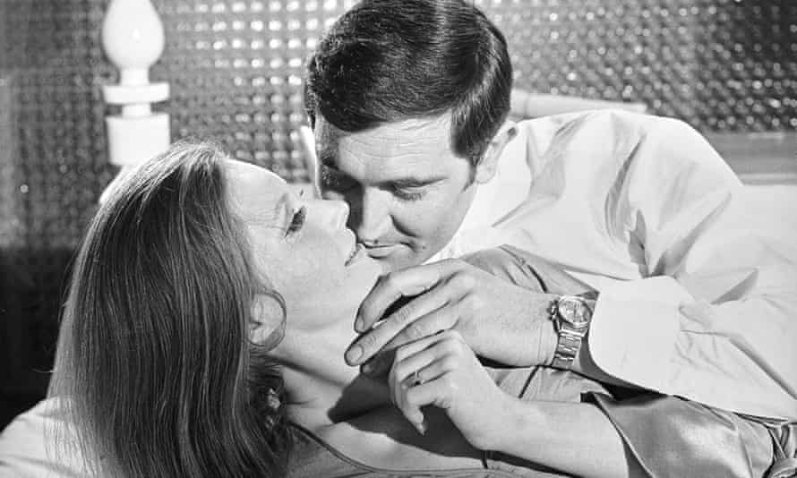 Catherina Von Schnell, George Lazenby and the Rolex watch, which is being auctioned, in On Her Majesty's Secret Service.