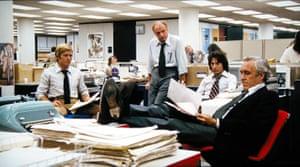 Bob Woodward, Harry M. Rosenfeld, Carl Bernstein, Ben Bradlee in Alan J.Pakula's film 'All The President's Men.