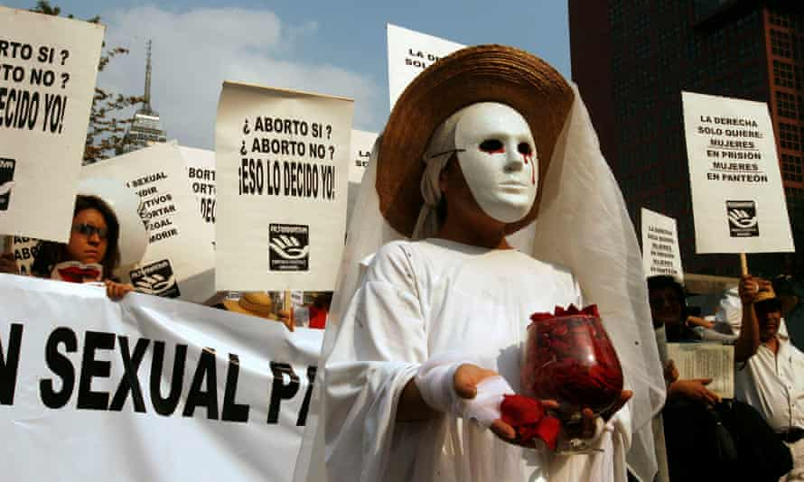 Demonstrators supporting a woman's right to an abortion march in downtown Mexico City in 2007.