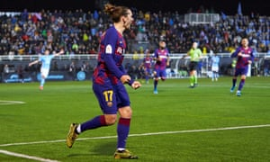 Antoine Griezmann twice in the second half – his second goal coming in the 94th minute – as Barcelona came from behind to win in Ibiza.