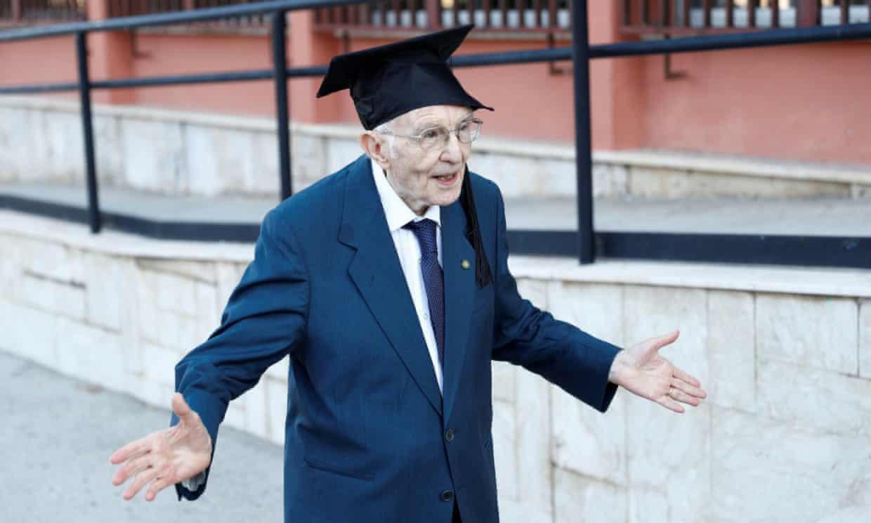 Giuseppe Paternò refused to postpone his classes during the coronavirus pandemic. Photograph: Guglielmo Mangiapane/Reuters