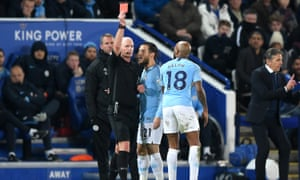 Fabian Delph is sent off to compound Manchester City's misery at the King Power Stadium.