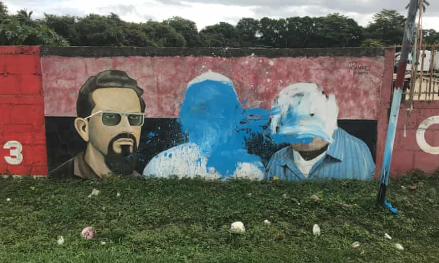 A Sandinista mural defaced by protesters in Nicaragua's Rivas department, where Mukul is located.