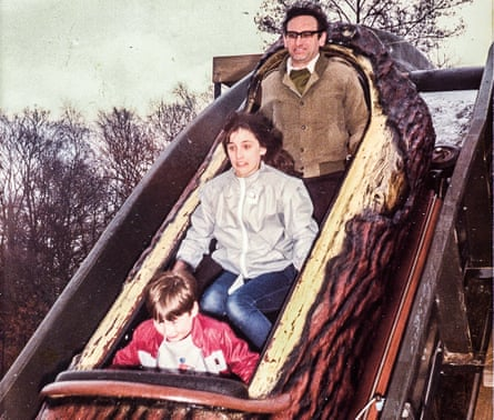 Grace Dent, aged 11, on a log ride at Alton Towers with her dad and younger brother Dave
