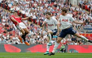 Alexis Sanchez scores the equaliser as Manchester United beat Tottenham 2-1 in the FA Cup semi-final at Wembley.