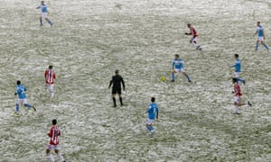 Stoke City face Sunderland in a snow-affected Premier League encounter in February 2012. From the 2019-20 season, top-flight sides will have a 10-day break during the same month