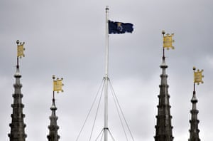 A Metropolitan police flag flies from Southwark Cathedral before the funeral