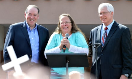 """The stridently evangelical law firm based in Orlando has made a name for itself by taking on high-profile legal battles aimed at """"restoring the culture by advancing religious freedom"""". One of its clients was Kim Davis, pictured here with Mat Staver and Mike Huckabee."""
