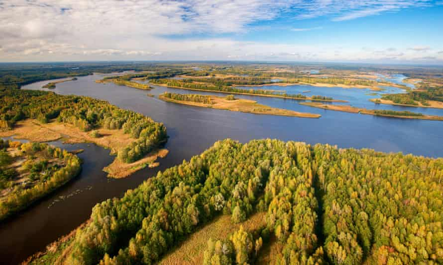 An aerial view of the Pripyat River within the 30km Chernobyl exclusion zone.