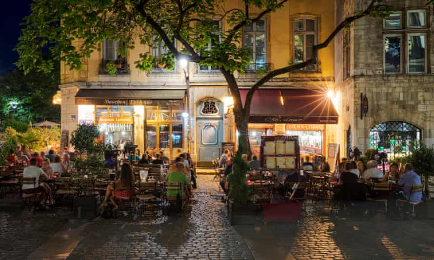 A traditional restaurant in Lyon … Buford lacks 'enthusiasm for the vernacular cooking of the city'.