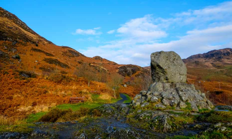 Bruce's Stone, Loch Trool in Galloway Forest Park, Scotland.