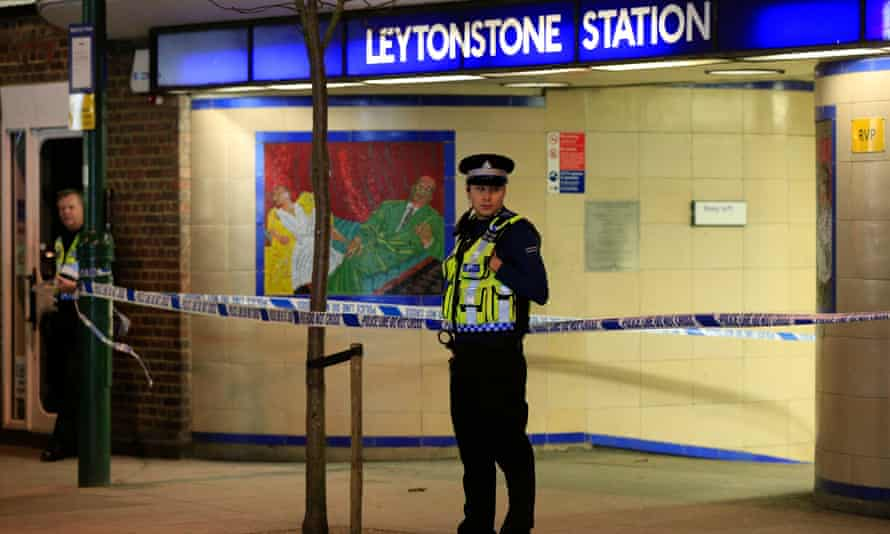 Police cordon off Leytonstone Underground Station in east London following a stabbing incident