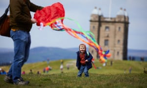 A mass flying of kites around the Cage, an 18th century National Trust former hunting lodge at Lyme Park in Cheshire.