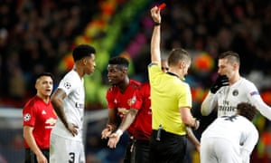 Manchester United's Paul Pogba is sent off at the end of their 2-0 defeat by PSG