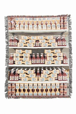 From New American Quilts a series of guerrilla installations on supermarket shelves by artist Carson Davis Brown who then makes some of them into rugs and quilts.